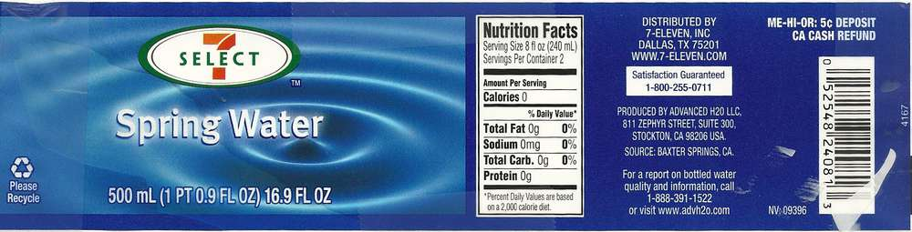 7 Select Spring Water Label