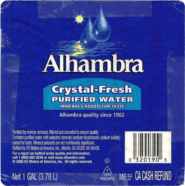 Alhambra Crystal-Fresh Purified Water Label