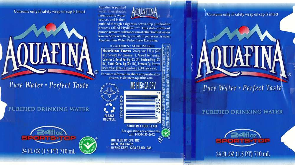 Aquafina Purified Drinking Water Label
