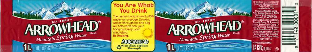 Arrowhead Mountain Spring Water Label
