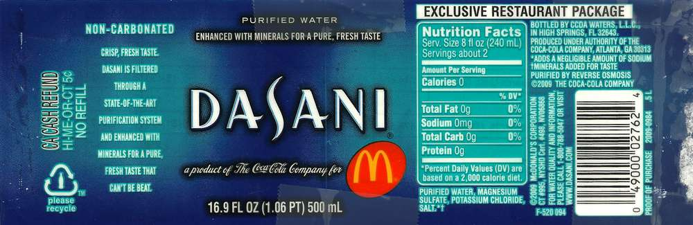 Dasani Purified Water Label