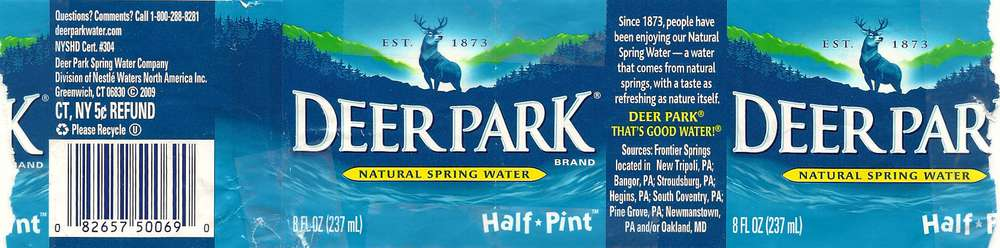 Deer Park Natural Spring Water Label