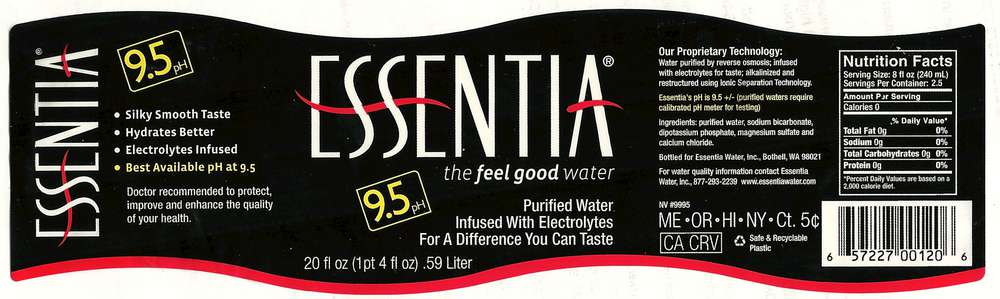 Essentia Purified Water Label