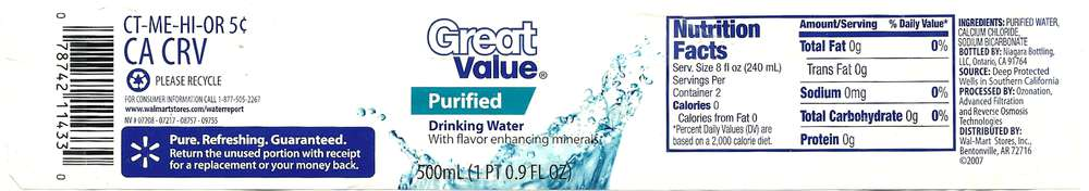 Great Value Purified Drinking Water Label