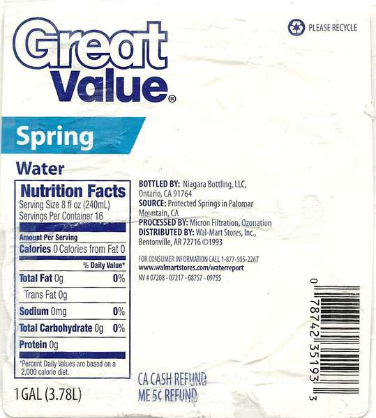 Great Value Spring Water Label