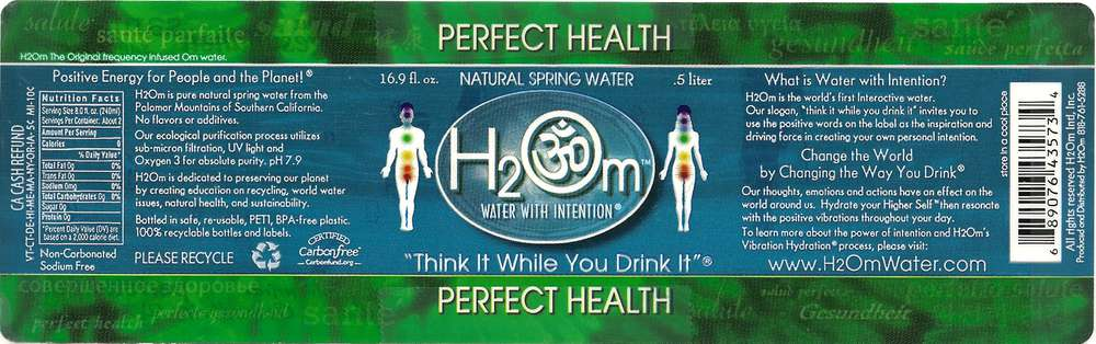 H2Om Natural Spring Water Label