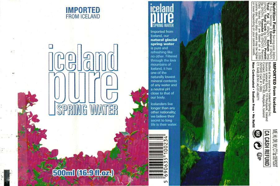 Iceland Pure Spring Water Label