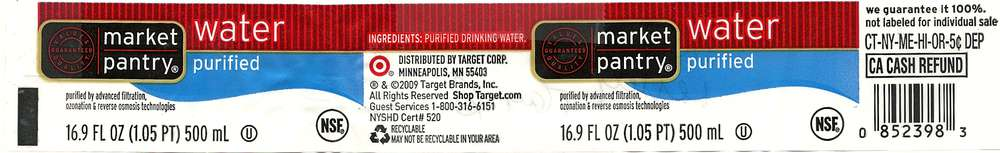 Market Pantry Purified Water Label