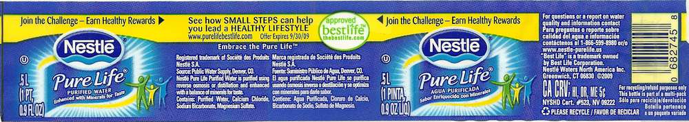 Nestle Pure Life Purified Water Label