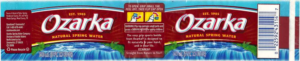 Ozarka Natural Spring Water Label