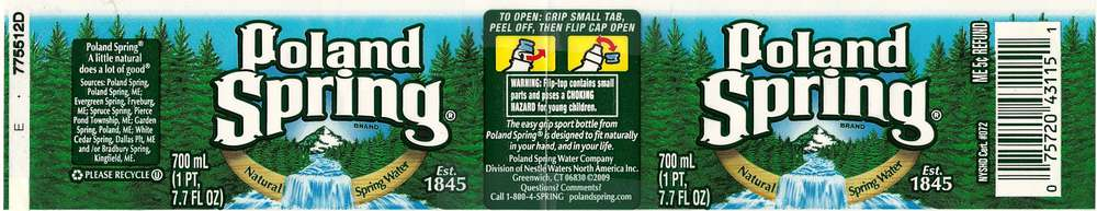 Poland Spring Natural Spring Water Label