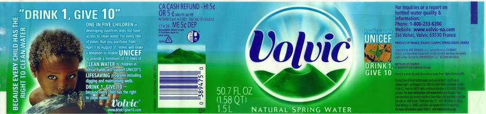 Volvic Natural Spring Water Label