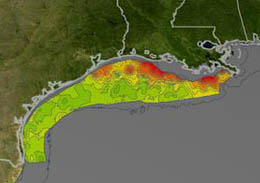 Map of Louisiana coast showing dead zone