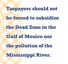 Taxpaers should not be forced to subsidize the Dead Zone in the Gulf of Mexico nor the pollution of the Mississippi River.