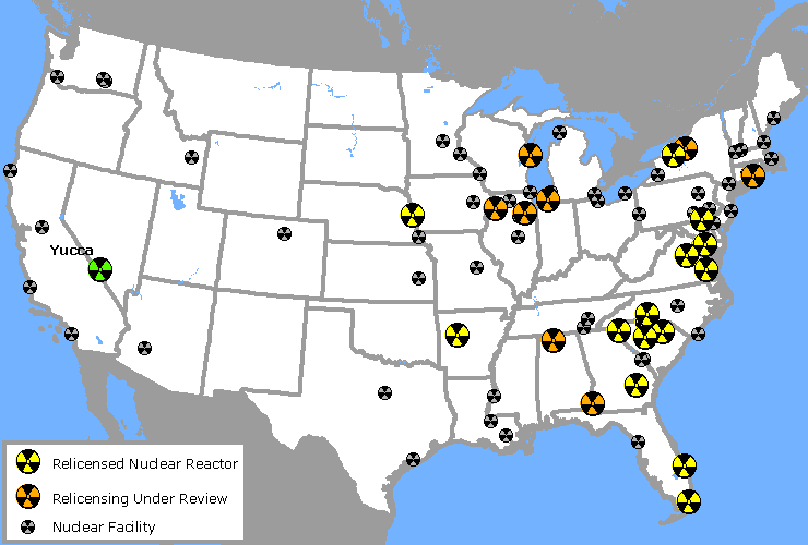 Map Of Nuclear Power Plant Relicensing Marks The Spot Ewg - Nuclear-map-us