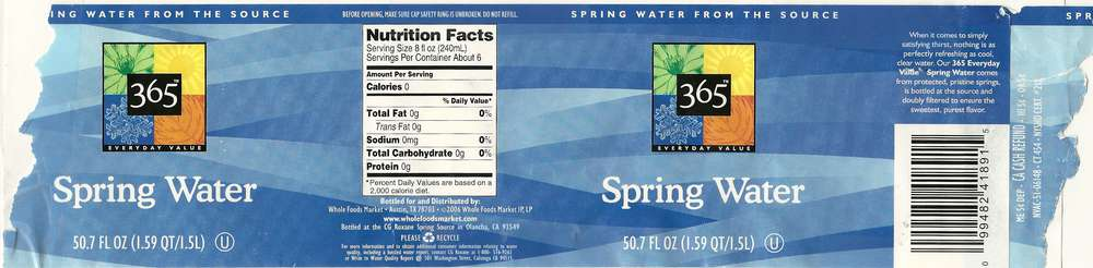 365 Everyday Value Spring Water Label