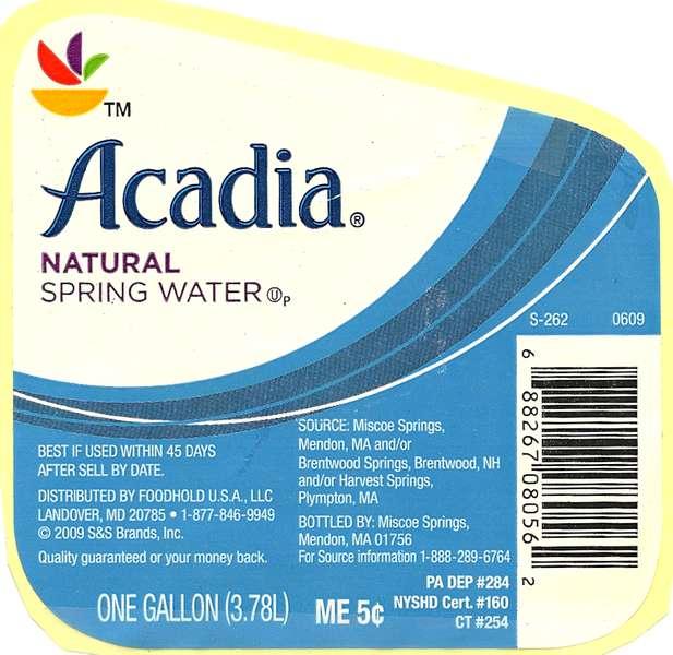 (Stop & Shop) Acadia Natural Spring Water Label