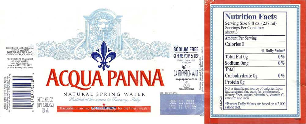 Acqua Panna Natural Spring Water Label
