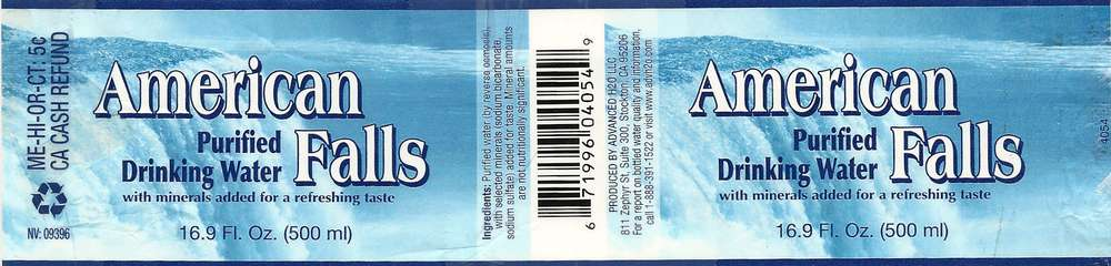 American Falls Purified Drinking Water Label
