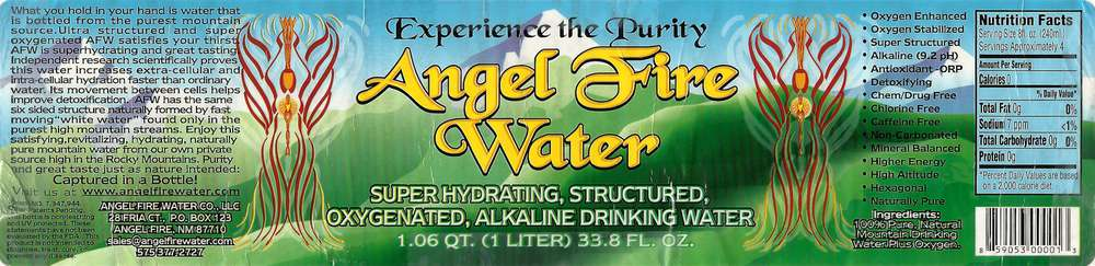 Angel Fire Water Drinking Water Label