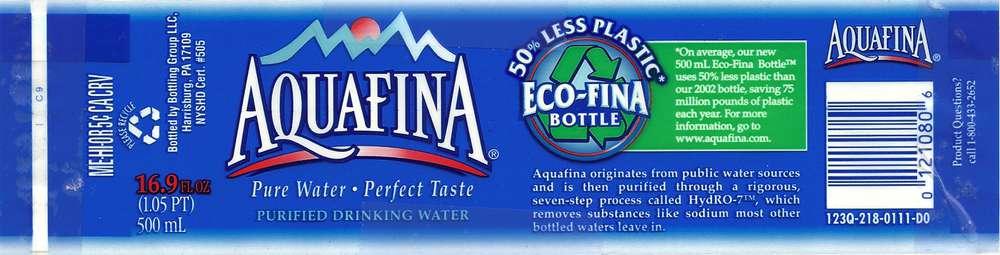 Aquafina Purified Drinking Water Label