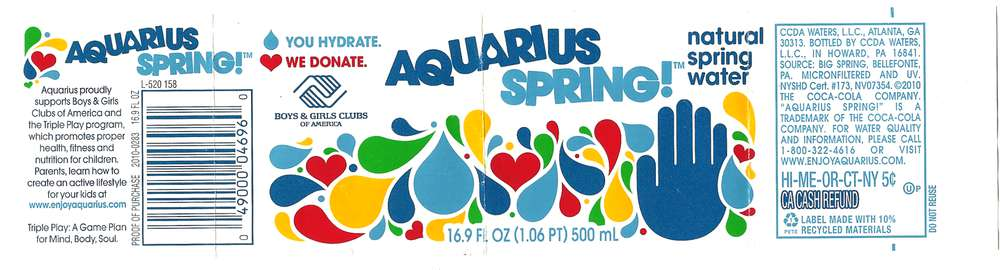 Aquarius Spring! Natural Spring Water Label