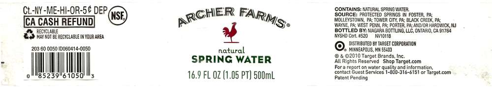 Archer Farms Natural Spring Water Label