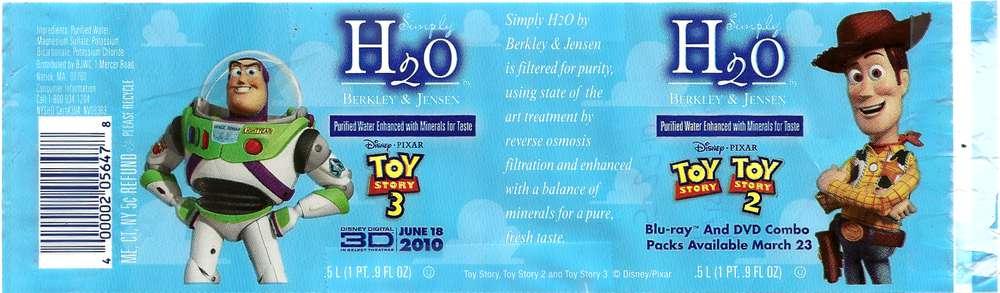 Simply H2O by Berkley & Jensen Purified Water Label