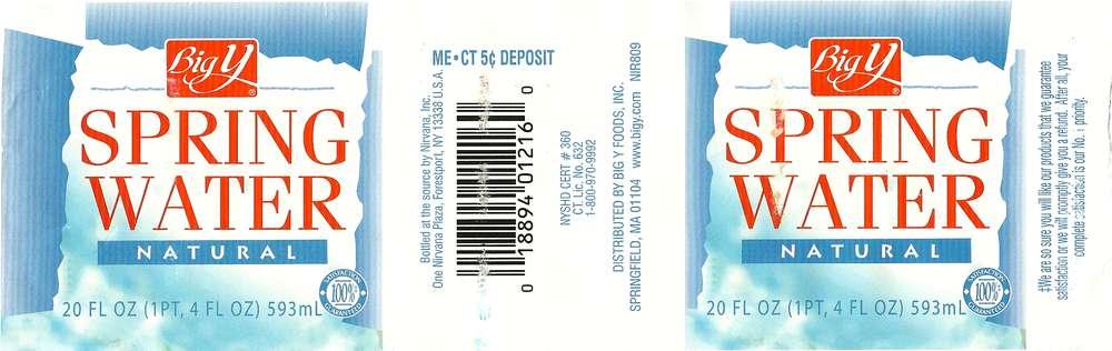 Big Y Natural Spring Water Label
