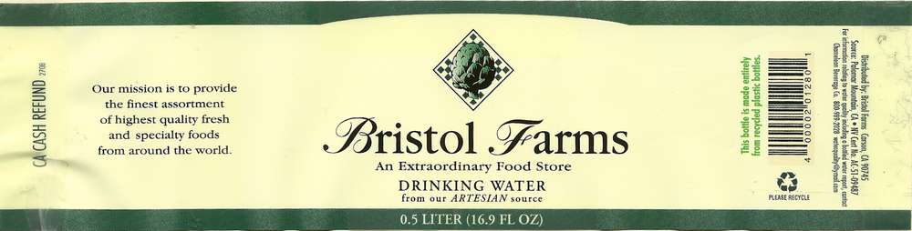 Bristol Farms Drinking Water Label