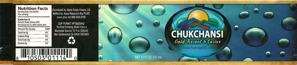 Chukchansi Gold Resort and Casino Purified Drinking Water Label