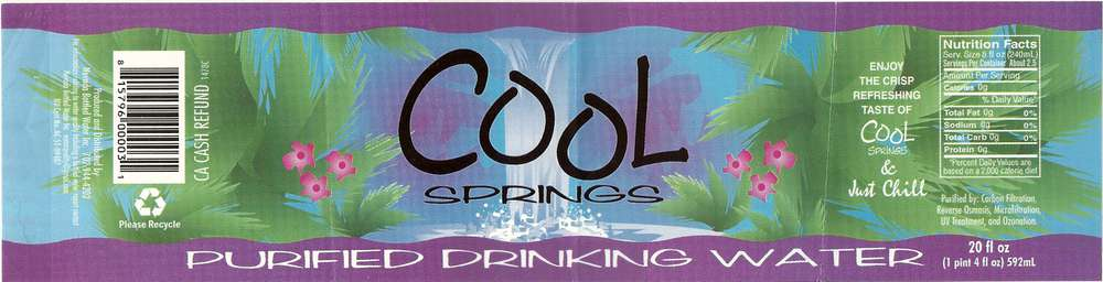 Cool Springs Purified Drinking Water Label