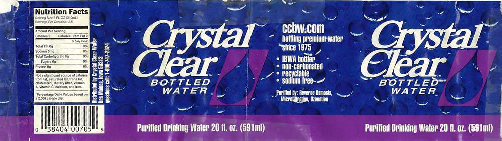 Crystal Clear Bottled Water Purified Drinking Water Label