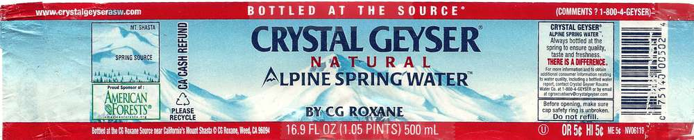 Crystal Geyser Natural Alpine Spring Water Label
