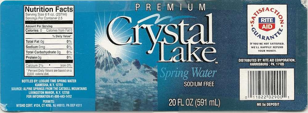 Crystal Lake Premium Spring Water Label