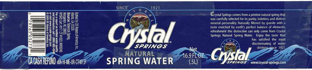Crystal Springs Natural Spring Water Label