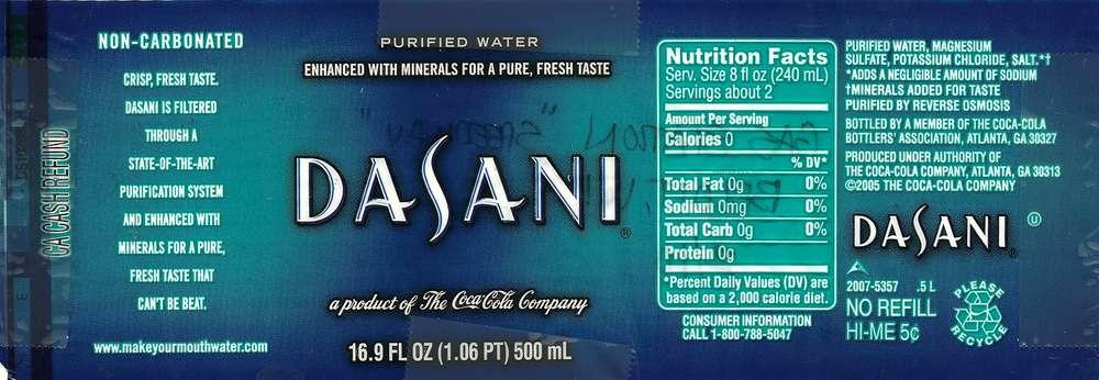 Dasani Purified Water Label