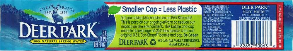 Deer Park Natural Spring Water Label