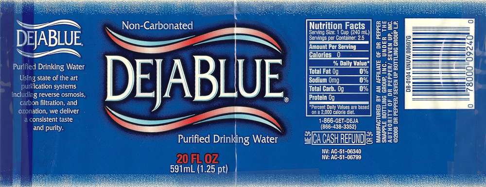 Deja Blue Purified Drinking Water Label