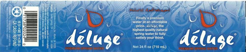 Deluge Premium Spring Water Label