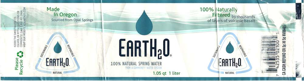 EartH2O 100% Natural Spring Water Label