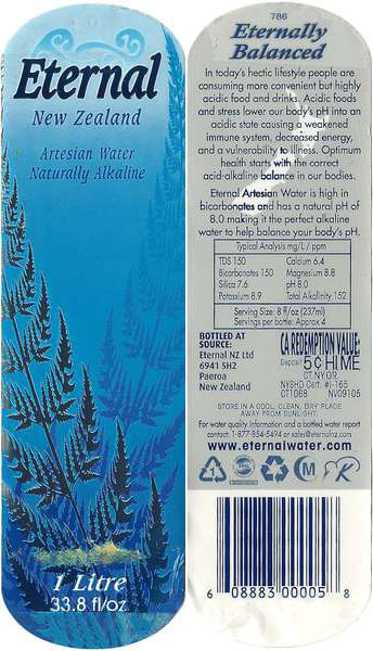 New Zealand Eternal Artesian Water  Label
