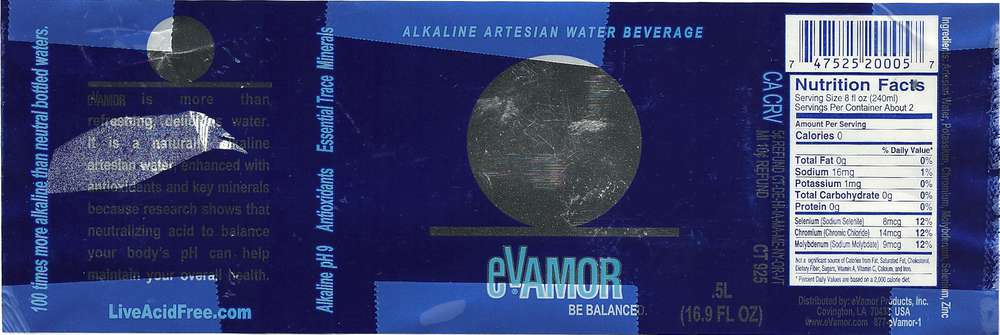 Evamor Alkaline Artesian Water Beverage Label