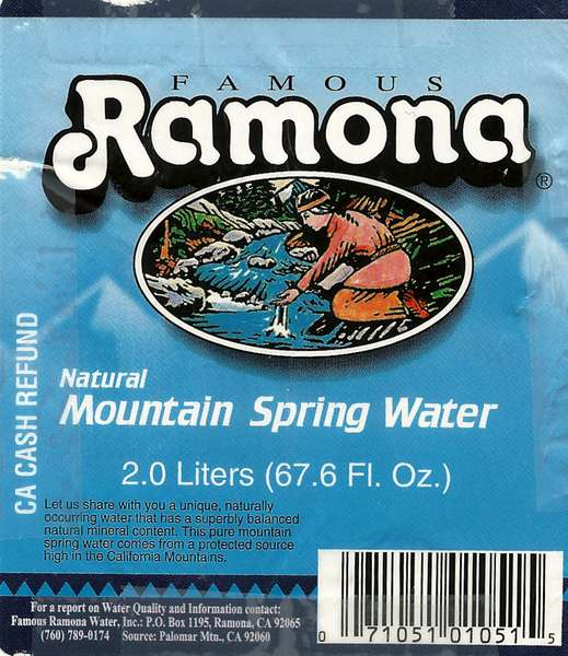 Famous Ramona Natural Mountain Spring Water Label