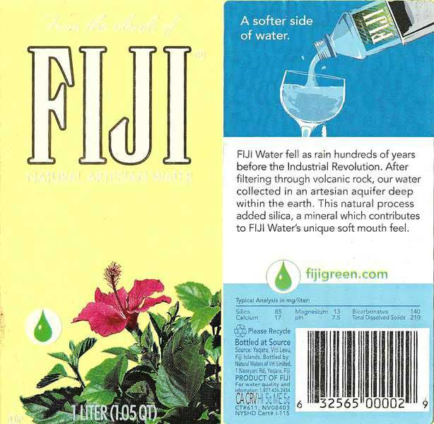 Fiji Natural Artesian Water Label