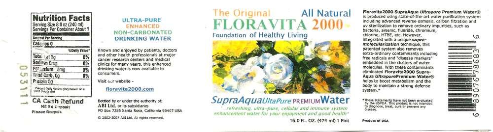 Floravita 2000 Supra-Aqua Ultrapure Premium Water Label