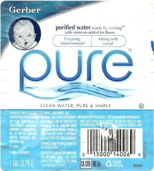 Gerber Pure Purified Water Label