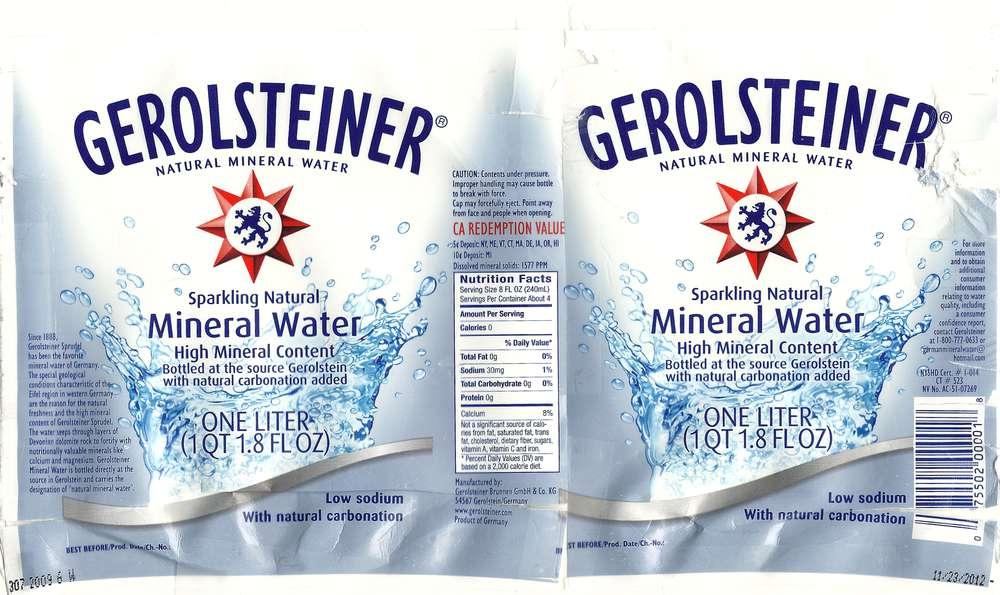 Gerolsteiner Natural Mineral Water Label
