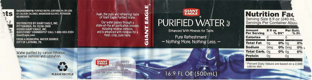 Giant Eagle Purified Water Label
