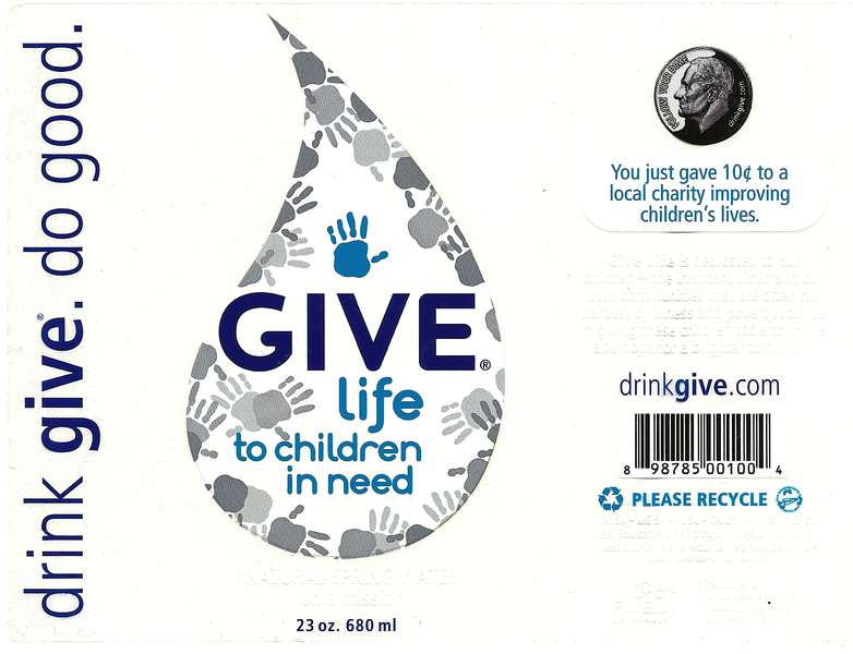 GIVE Life [to children in need] Natural Spring Water Label
